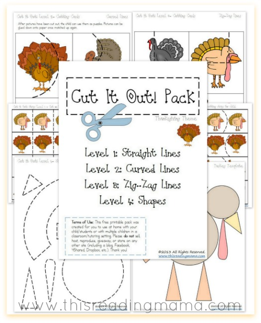 FREE Cutting Practice Pack {Thanksgiving Cut it Out!} | This Reading Mama