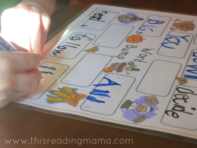 write a word from your spelling list on the game board | This Reading Mama