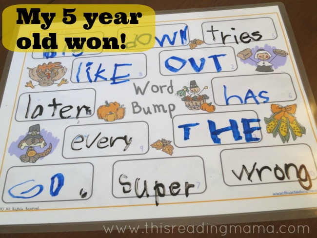the winner is the one who has more words written on the game board | This Reading Mama