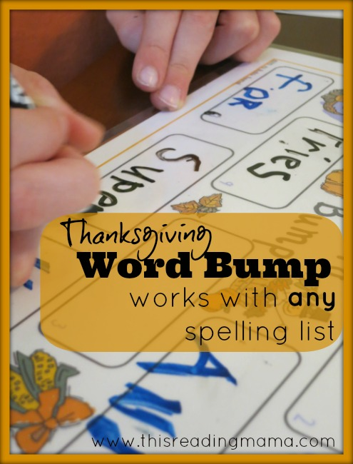 FREE Thanksgiving Word Bump~ Works with any Spelling List | This Reading Mama