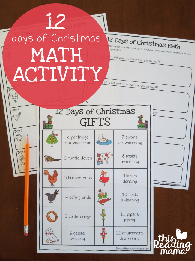 12 days of christma math activity from this reading mama - How Many Gifts In 12 Days Of Christmas