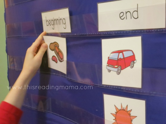 sorting picture cards by beginning and ending sounds