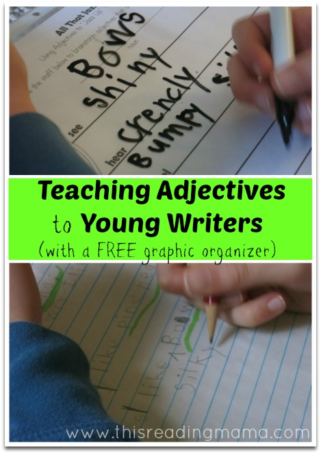 Teaching Adjectives to Young Writers (free graphic organizer) | This Reading Mama