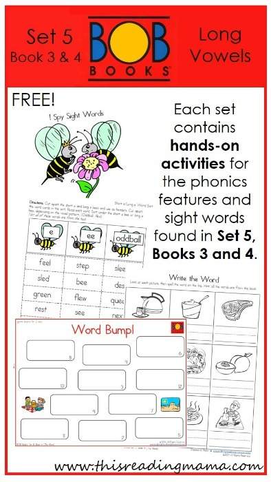 FREE BOB Book Printables for Set 5, Books 3 and 4   This Reading Mama