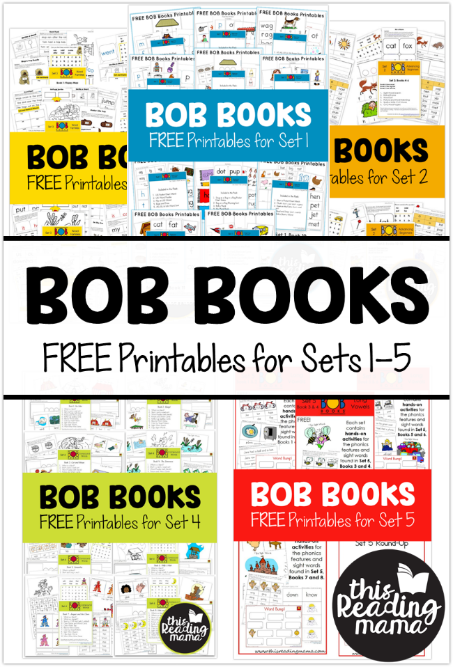 FREE BOB Books Printables for Sets-1-5 from This Reading Mama
