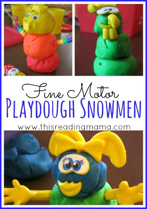 Fine Motor Playdough Snowmen