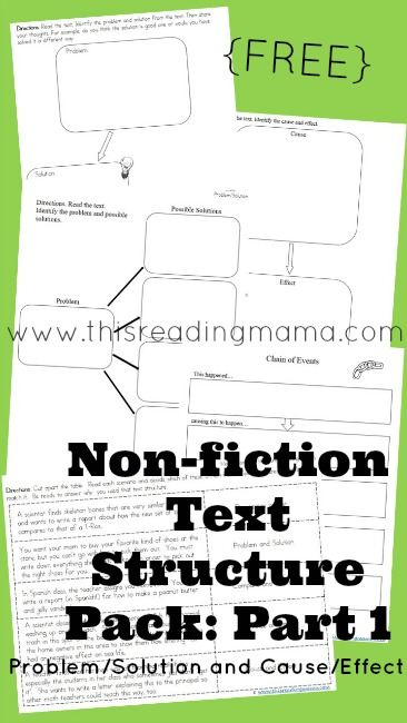 FREE Nonfiction Text Structure Pack- Part 1 (Problem/Solution and Cause/Effect)   This Reading Mama