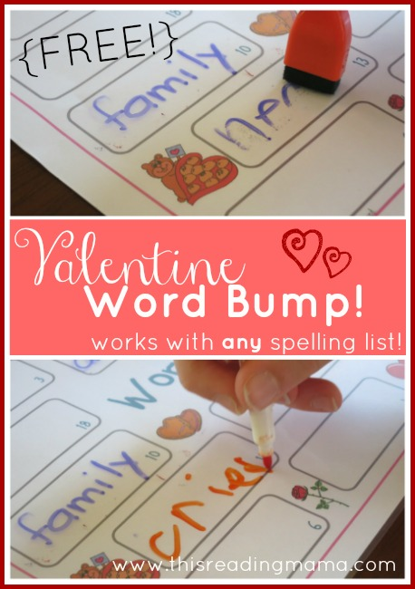 FREE Valentine Word Bump! ~ works with any spelling list | This Reading Mama