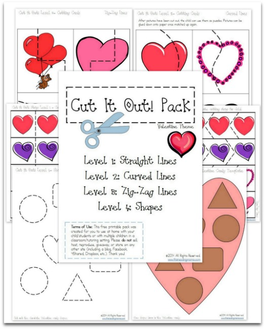 FREE Cutting Practice Pack {Valentine Cut it Out!} | This Reading Mama