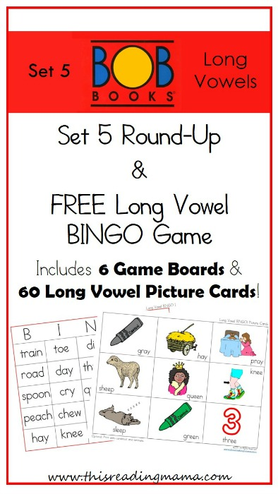 BOB Books~ Set 5 Round Up and FREE Long Vowel BINGO Game | This Reading Mama