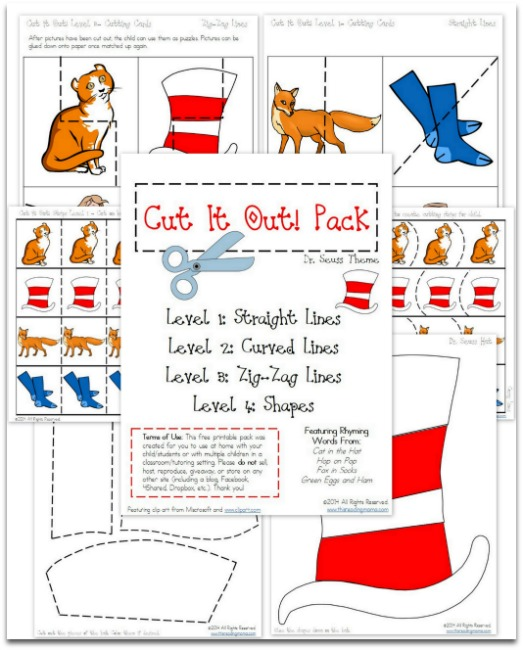 FREE Dr Suess Themed Cut It Out Pack By This Reading Mama