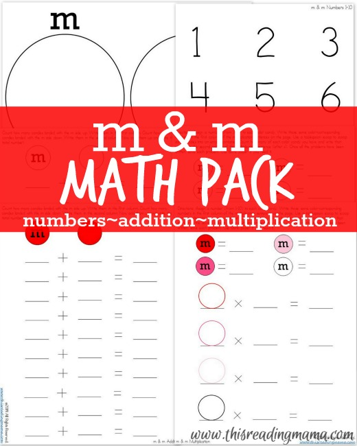 FREE m & m Math Pack - practice numbers, addition, and multiplication