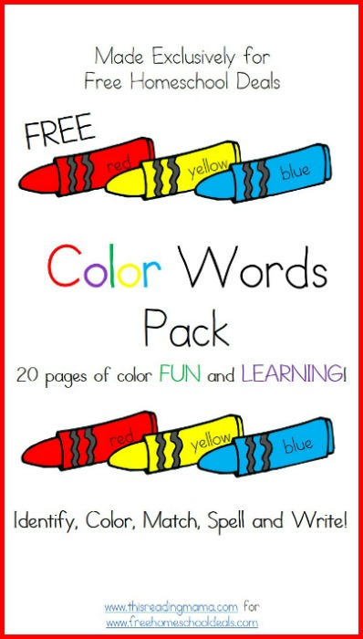 Free Color Words Pack | This Reading Mama for Free Homeschool Deals
