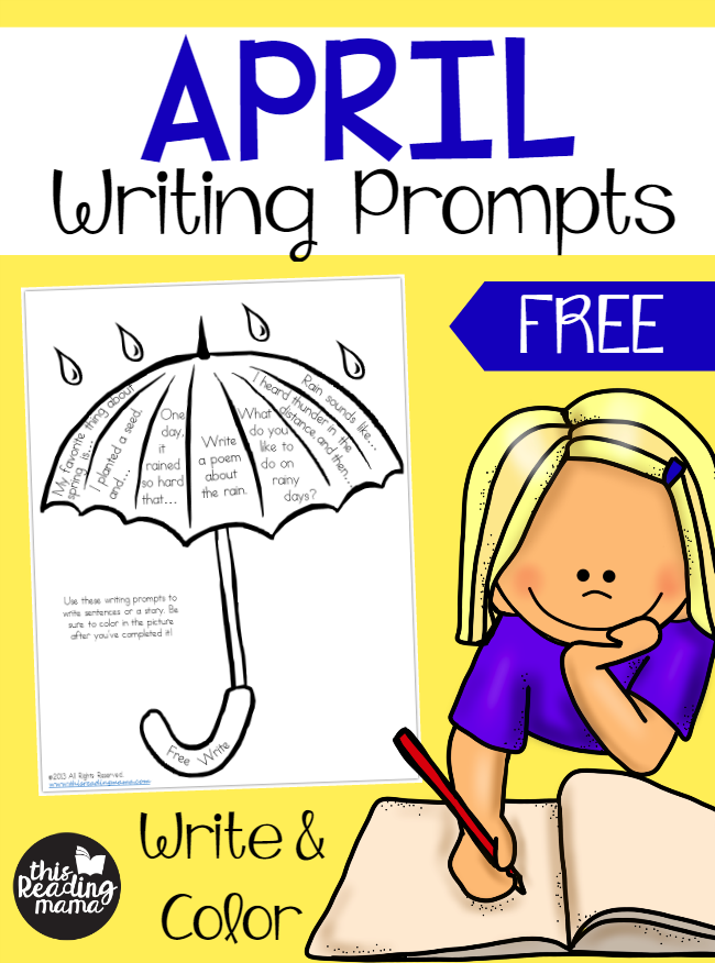 FREE April Writing Prompts - Write and Color - This Reading Mama