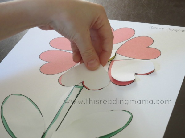 glue down shapes to make a flower picture