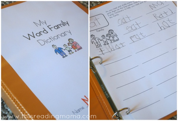 Help your child learn how to spell with a word family dictionary -- stop by to learn more and get your free printable!