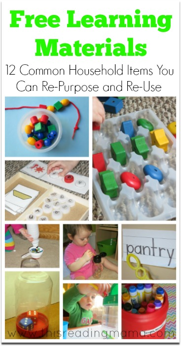 Free Learning Materials: 12 Common Household Items You Can Re-Purpose and Re-Use | This Reading Mama