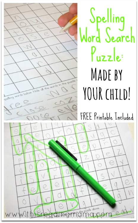 spelling word search puzzles made by your child