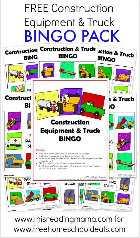 FREE Construction Equipment and Truck BINGO Pack