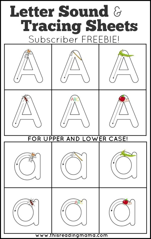 letter sounds and letter tracing sheets subscriber freebie
