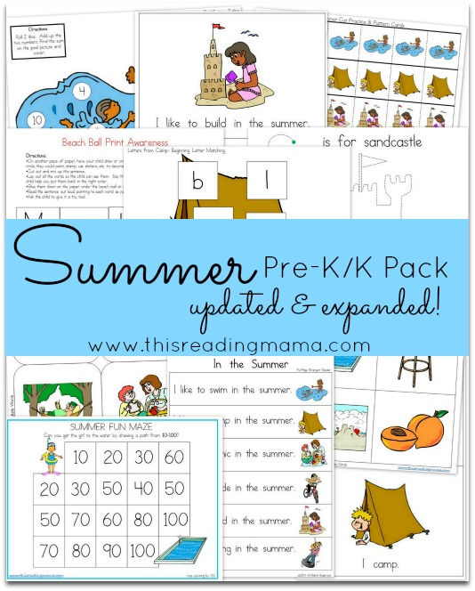 FREE Summer PreK-K Pack {Updated and Expanded} | This Reading Mama