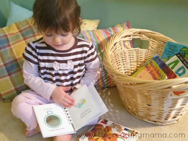 reading books from book basket