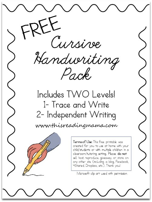 Printables Cursive Worksheets Free free cursive handwriting worksheets pack this reading mama