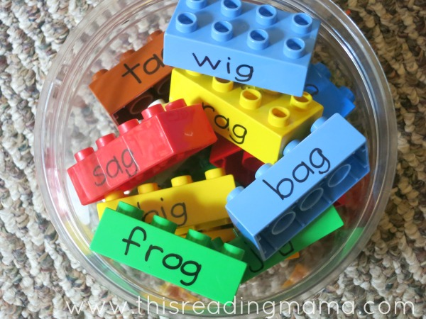 LEGO words for word family sorting