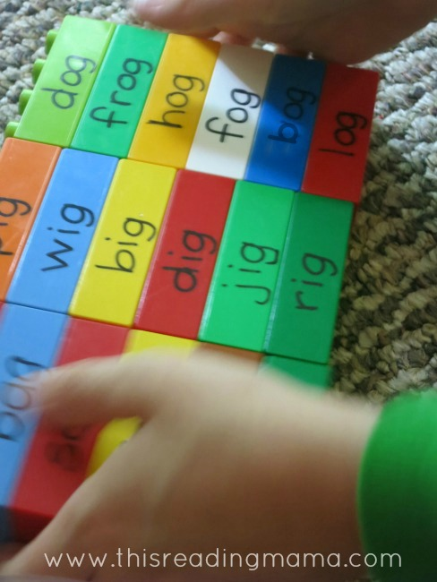 stacking and reading the LEGO Word Family pieces