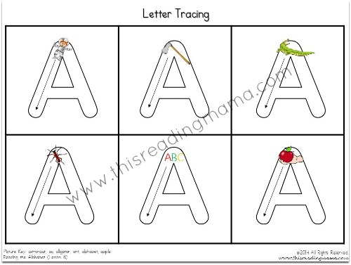 Beginning Handwriting and Tracing Pages from Reading the Alphabet Bundle Pack