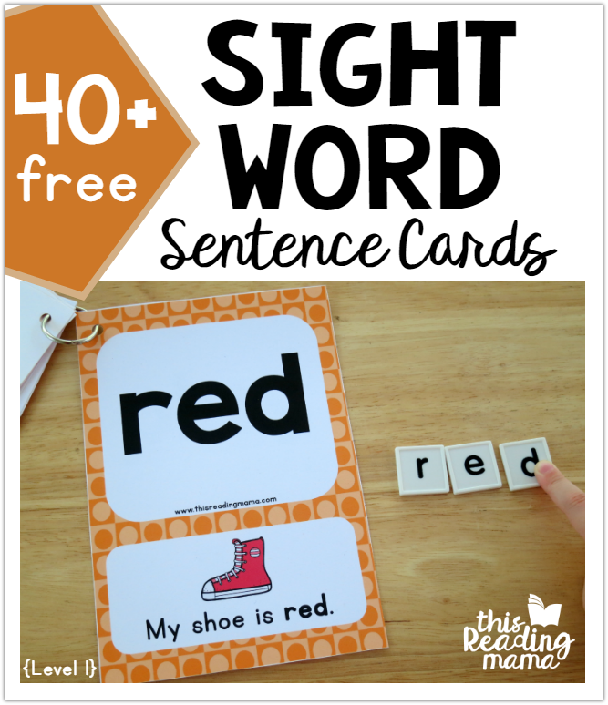 Sight Word Sentence Cards - Level 1 - This Reading Mama