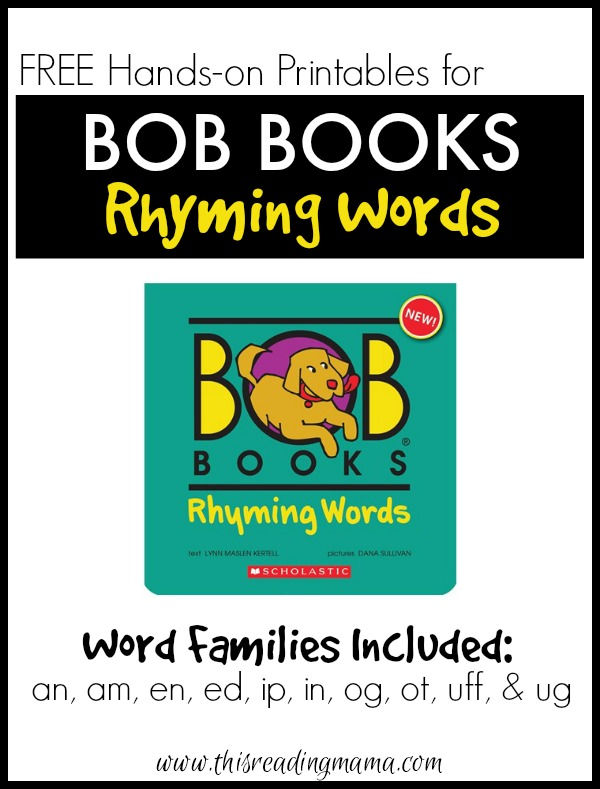 FREE Printables for BOB Books Rhyming Words - This Reading Mama