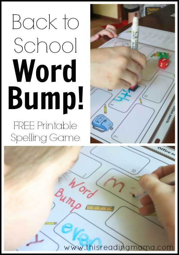 Back to School Word Bump - a free printable spelling game | This Reading Mama