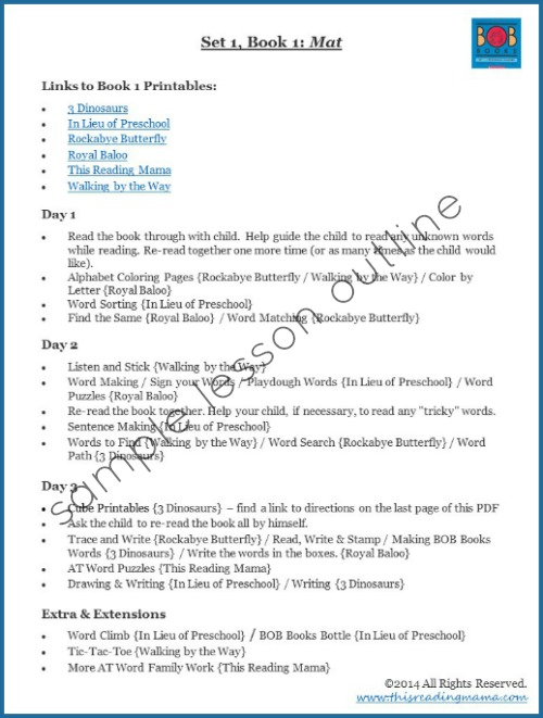 Sample Lesson Outline for BOB Books Set 1 - This Reading Mama