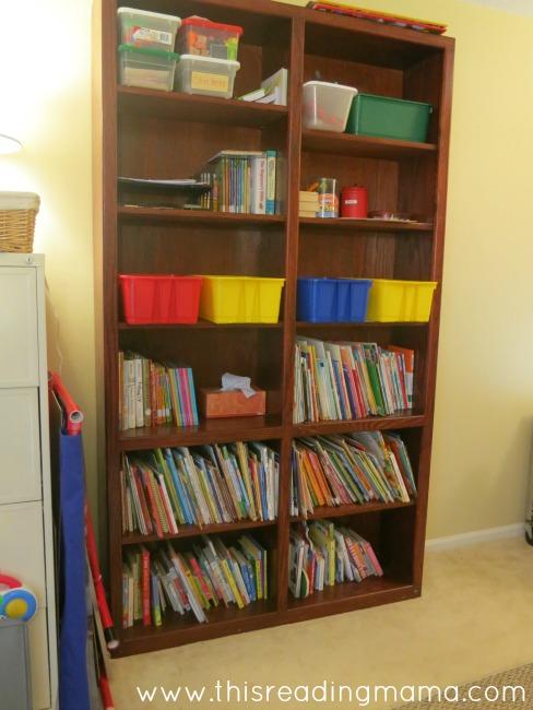 bookshelf in the homeschool room