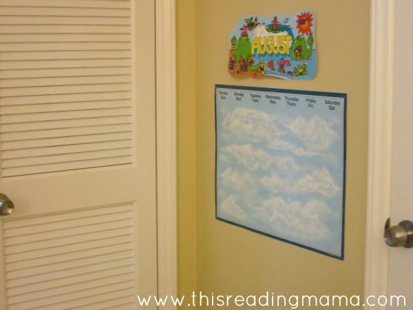 calendar area behind the door