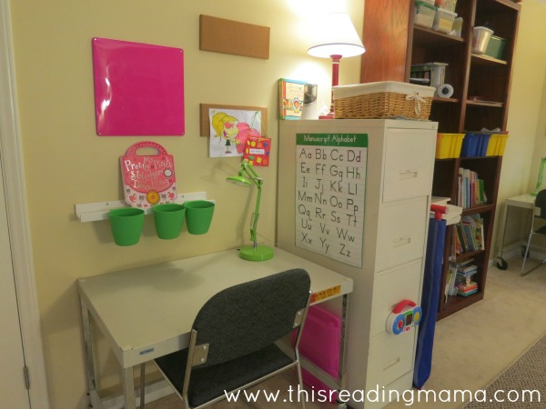 desk area for each of my kids in our homeschool room