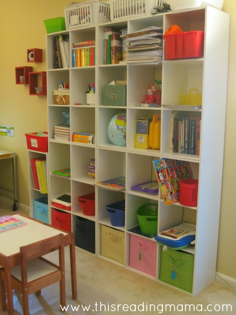 large bookshelf to hold our homeschool supplies