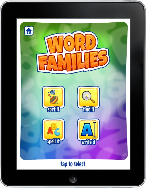 word families home page on app