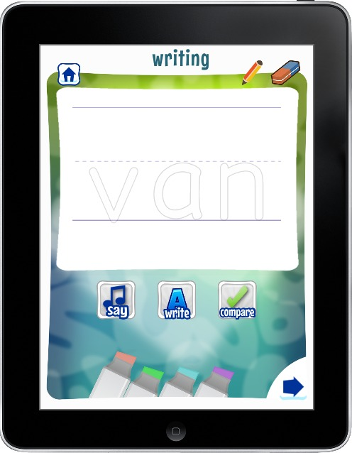 writing activity on word study app