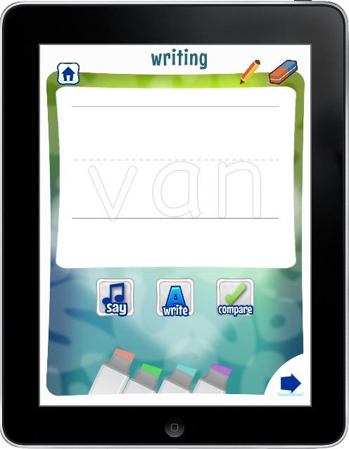 writing activity on word study app