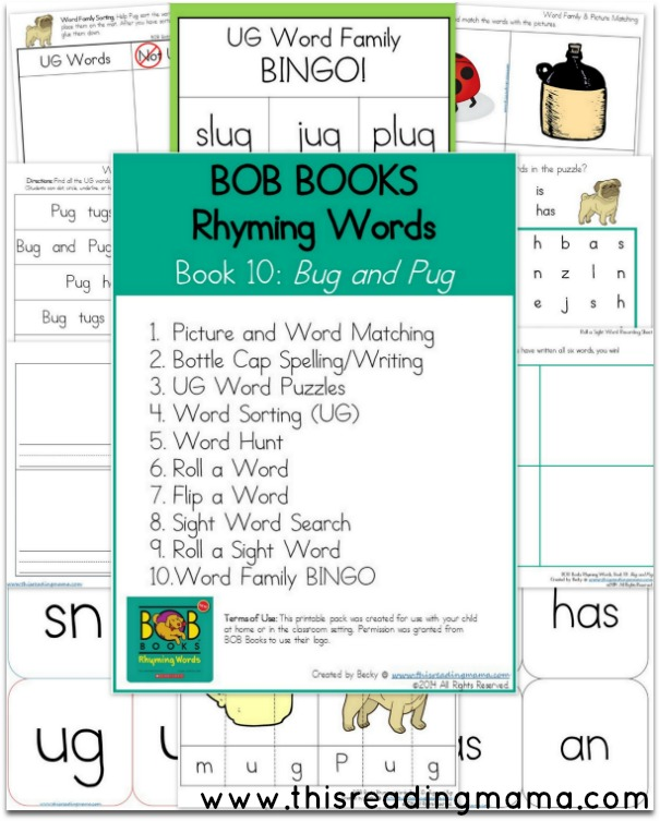 words that rhyme with pug bob books rhyming words books 9 and 10 this reading mama 6084