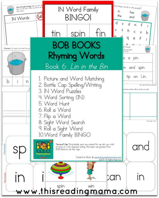 Printables 5 Rhyming Words bob books rhyming words book 5 and 6 this reading mama bobbooks book6 mama