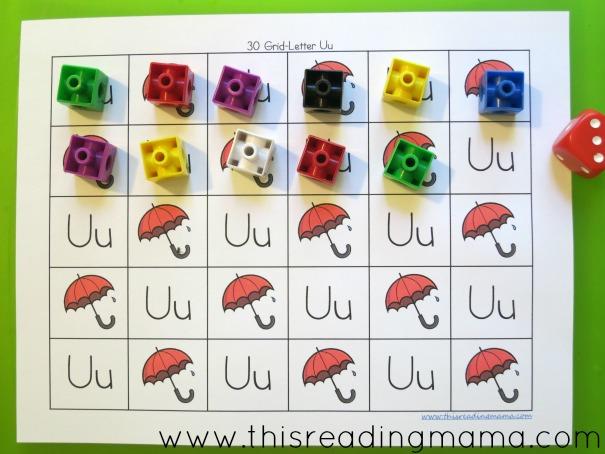 alphabet grid games u is for unifix cubes