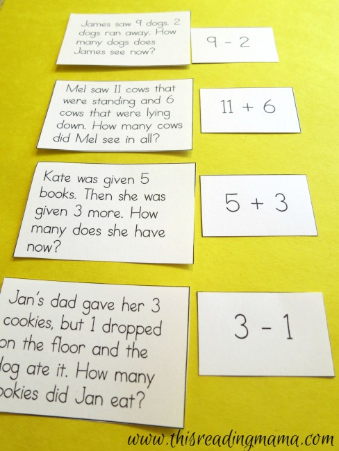 matching word problems to number sentences