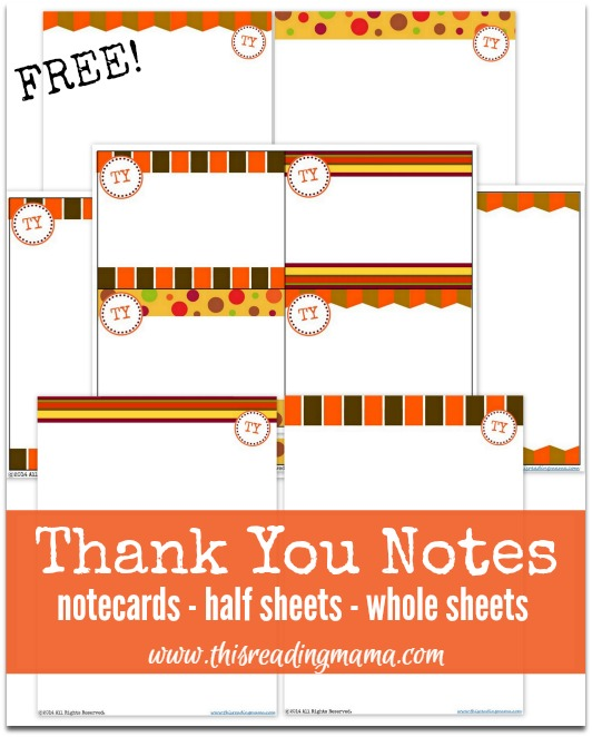 FREE Thank You Notes Pack from This Reading Mama