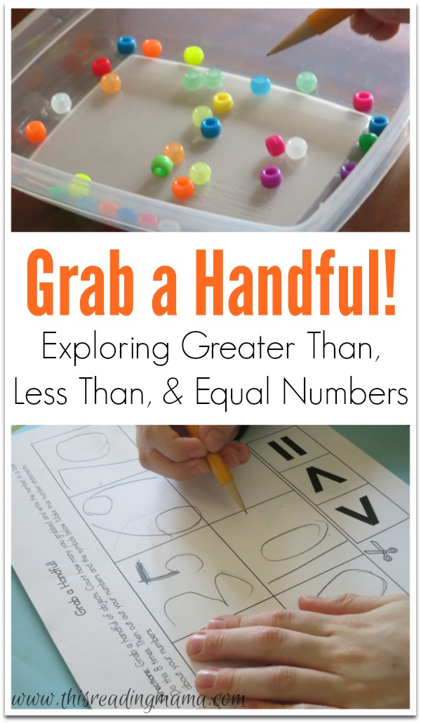 Grab a Handful - Exploring Greater Than, Less Than, and Equal Numbers {FREE printable!} | This Reading Mama
