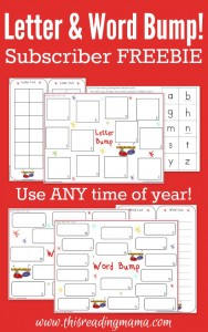 Letter and Word Bump Subscriber FREEBIE - This Reading Mama