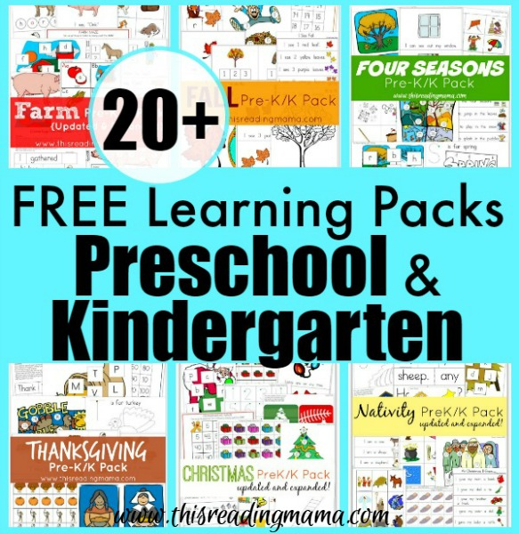 20 Free Learning Packs For Preschool And Kindergarten