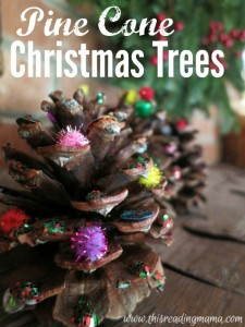 Pine Cone Christmas Trees - great for fine motor - This Reading Mama